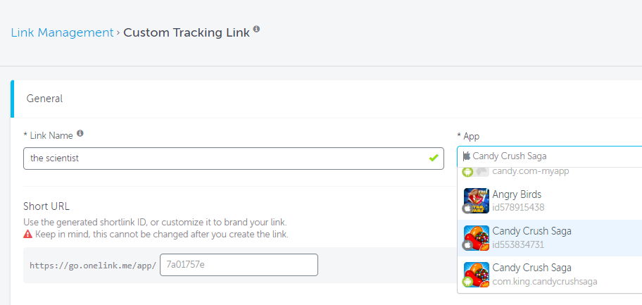 AppsFlyer Custom Tracking Link general settings
