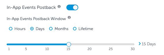 15日間のアプリ内イベントポストバック期間
